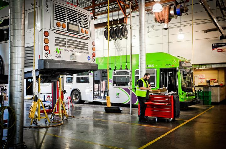 Valley Metro bus being maintained
