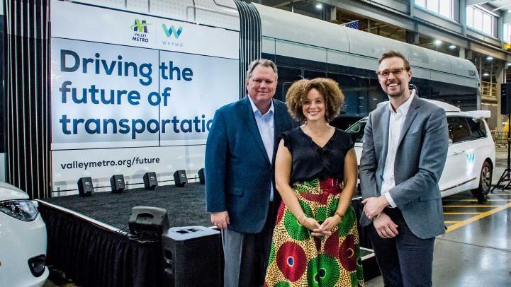 Valley Metro CEO, Scott Smith; Samantha Jackson, Waymo Early Rider;  Shaun Stewart, Business Development for Waymo