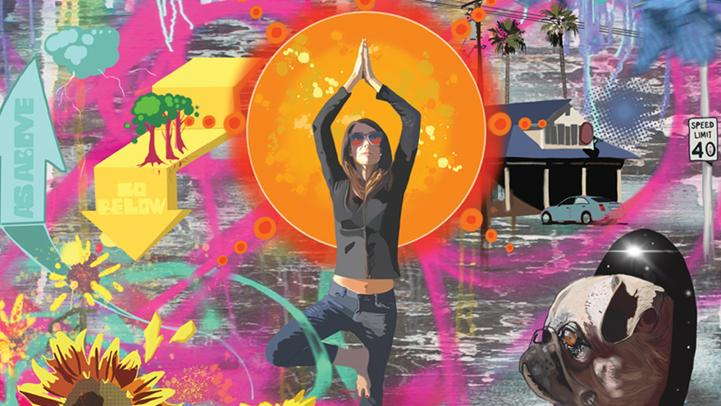 girl in yoga pose in front of bright sun and colorful art mural
