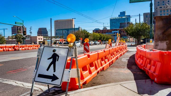 Construction zone with pedestrian crossing