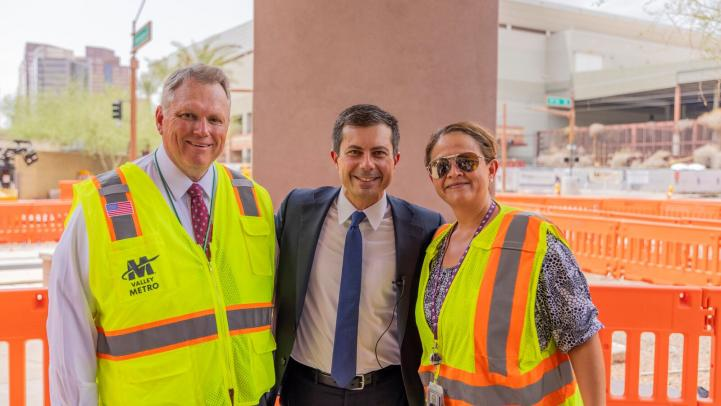 Scott Smith with Sec of Transportation, Pete Buttigieg and Alexis Tameron Kinsey, Chief of Staff