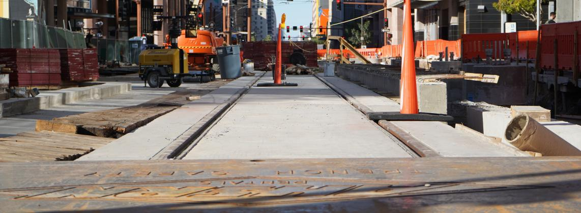 light rail construction sit on Central Ave