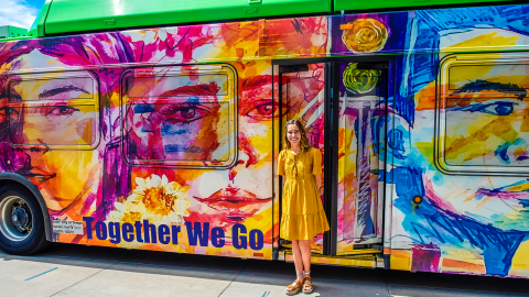 Sydney Storment, the winner of Valley Metro's 21st Annual Design a Transit Wrap contest presents her artwork, Together We Go