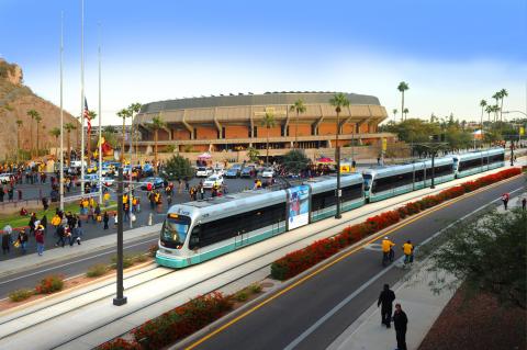 Train in front of ASU Wells Fargo Arena