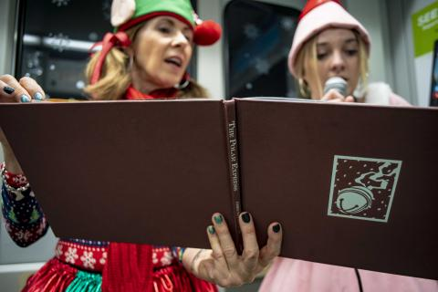 Elves read Polar Express