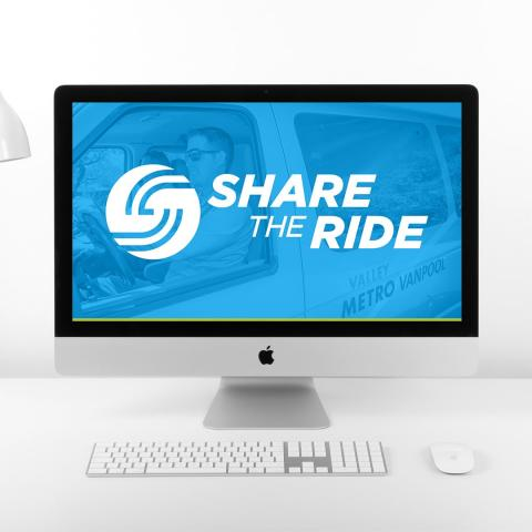 Picture of a computer screen that says ShareTheRide