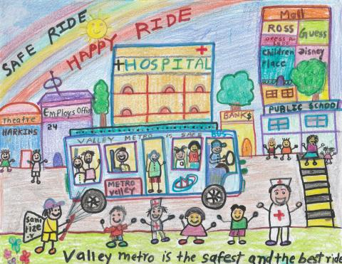"""Artwork of a bus driving into the city with the caption """"Valley Metro is the safest and the best ride!"""""""