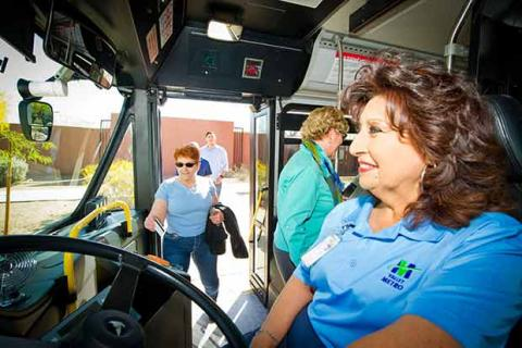 Bus operator behind the wheel