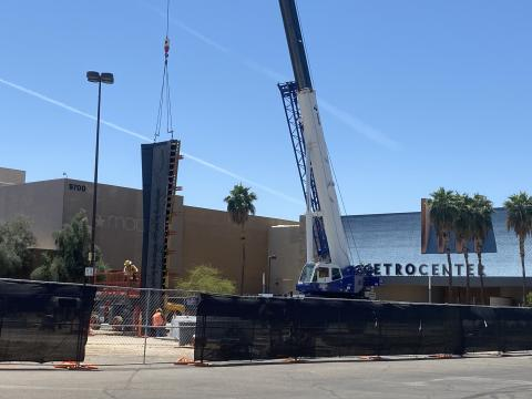Piers, which will support the elevated Metrocenter Station are being placed near the former Metrocenter Mall.