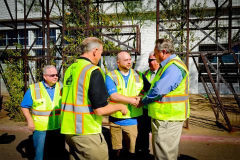 Valley Metro C E O Scott Smith Shake Hands with community memebers