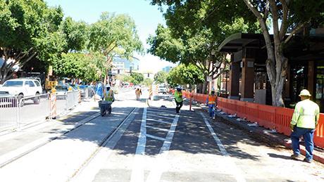 Streetcar track on Mill Avenue