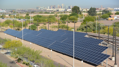 solar panels with Phoenix skyline in background