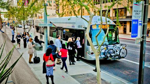 Valley Metro riders boarding a bus