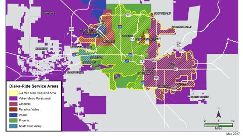 colorful map of phoenix region showing service of dial-a-ride
