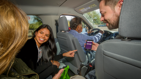 Employees riding in a vanpool