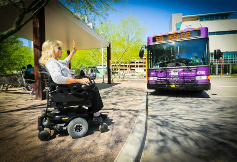 Woman in wheelchair flags down Valley Metro bus
