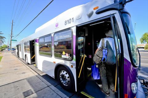 Valley Metro passenger boards bus