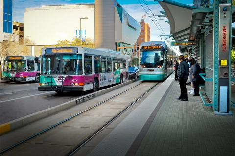 Valley metro bus and light rail car.