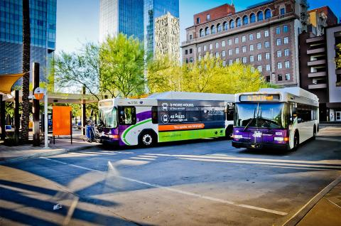 Valley Metro Buses in downtown phoenix