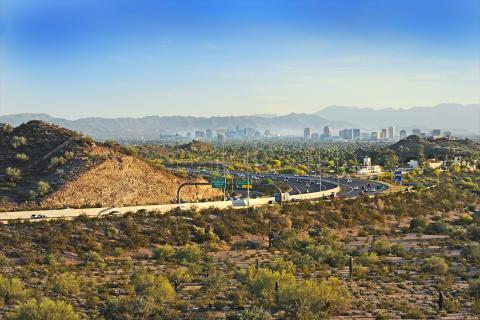 Downtown Phoenix on horizon