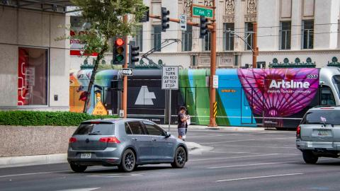 light rail train with Artsline wrap