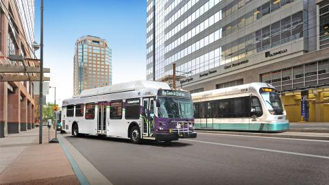 Valley Metro Bus and Light Rail in downtown Phoenix