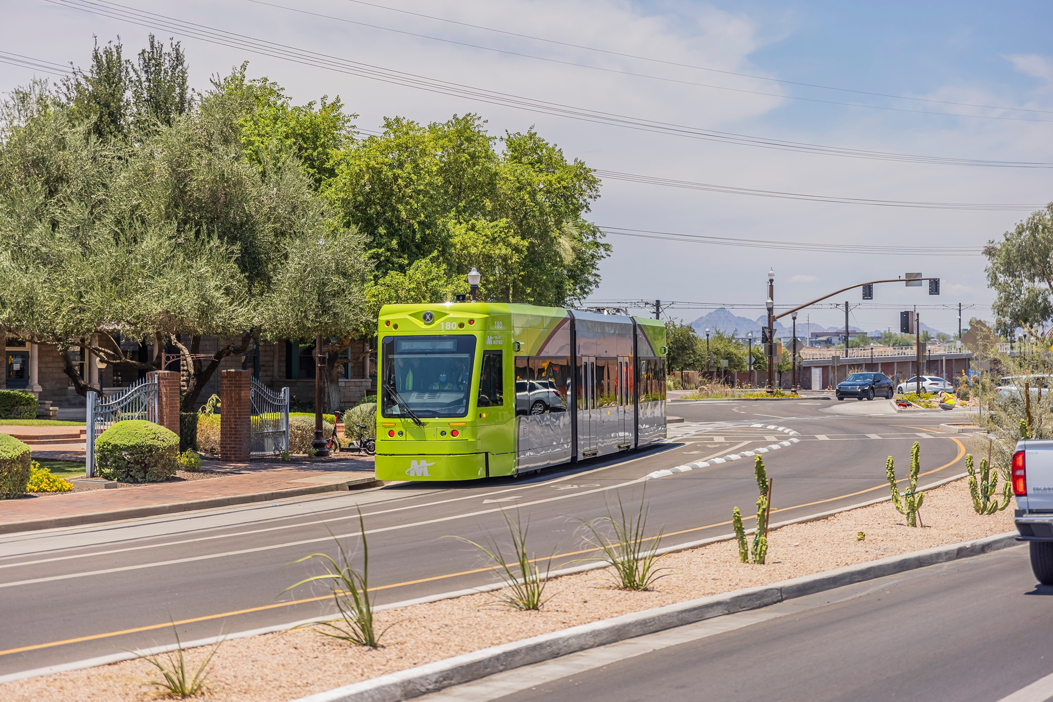 Streetcar conducting daylight testing on the Gammage Curve in Tempe.